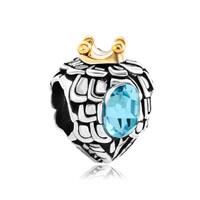 Heart Charm Bracelet Love Aquamarine Blue Crystal Bead Charm Bracelet