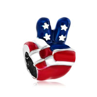 Usa Patriotic Flag Victory Hand Sign Language Bead Charm Bracelets