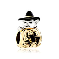 Gold Cute Spider Snowman With Classic Black Gentleman Hat Bead Charm