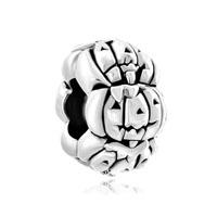 Silver Cute Jacko Lantern Halloween Pumpkin Bead Charm Bracelets