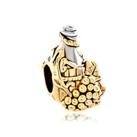Grap Wine Bottle For Two Tone Plated Beads Charms Bracelets Fit All Brands