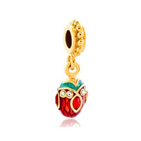 Red Crystal Easter Faberge Egg Dangle Golden Spacers Gold Plated Beads Charms Bracelets Fit All Brands