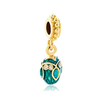 Blue Topaz Crystal Easter Faberge Egg Dangle Golden Charm Spacers