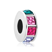 Silver Multicolor Cubic Zirconia Cz Crystal Charm Bracelet Spacers