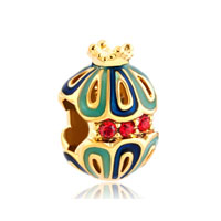 Gold Snow White King Crown Filigree Faberge Egg Lucky Charm Bracelet