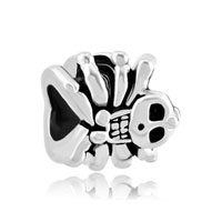 Silver Plated Halloween Bead Gifts Skull Charm Bracelet Spider