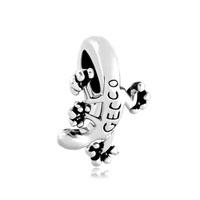 Silver Tone Cute Gecko Animal Charms For Bracelets Gecco Beads