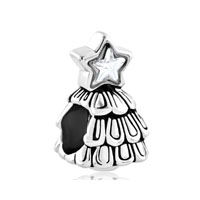 Silver Plated Guiding Star Christmas Tree Beads Charms Bracelets Fit All Brands