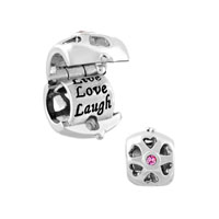 Silver Plated Live Love Laugh Locket Charm Bracelet Crystal Charms