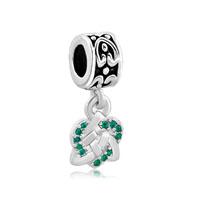 Celtic Knot Charm Bracelet Spacers Emerald Green Crystal Bracelet
