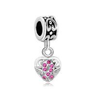 Silver Celtic Knot Charm Bracelet Spacers Rose Pink Crystal Bracelet