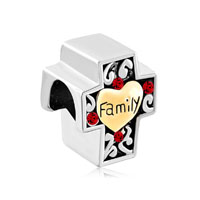 Mom Charms Cross Heart Beads