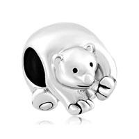 Silver Silver Tone Cute Polar Ice Bear Animal Charms For Bracelets