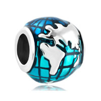 Silver Silver Lucky Charm Bracelet Ocean Blue Earth World Globe