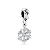 Silver Snowflake Dangle Lucky Charms Bracelets Clear White Crystal