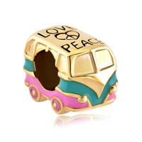 Gold European Bead Heart Charm Bracelet Love Peace Symbol Antique Bus
