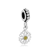 Daisy Flower Charms Bracelets Lace Dangel Topaz Yellow Swarovsk
