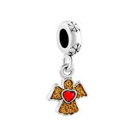 Birthstone Red Crystal Heart Angel Wing Dangle Charm Bracelet Spacer