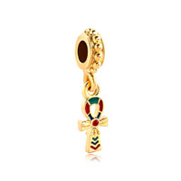 Red Crystal Egyptian Ankh Cross Dangle Spacers Gold Plated Beads Charms Bracelets Fit All Brands