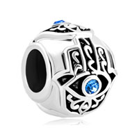 Births Blue Crystal Evil Eye Charm On Islamic Hamsa Hand Of Fatima