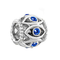 Silver Birthstone Blue Crystal Filigree Evil Eye Charm Bracelet