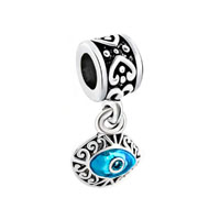 Filigree Masonic Blue Evil Eye Dangle Heart Charm Bracelet Spacer