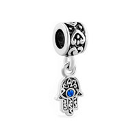 Blue Evil Eye Hamsa Hand Of Fatima Dangle Charm Bracelet Spacer Heart