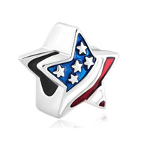 American Flag Patriotic Stars And Stripes Lucky Beads Charms Bracelets Fit All Brands