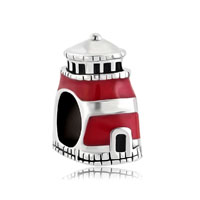 Antiqued Beacon Of Hope Red Lighthouse Charm For Bracelet Tower Bead