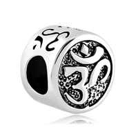 Silver Om Symbol Aum Love Yoga Beads Charms Lucky Charms Bracelets