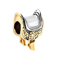 Horseshoe Equestrian Saddle Lover Gold Plated Beads Charms Bracelets Fit All Brands