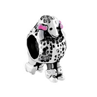 Rose Pink Bowknot Pet 3 D Poodle Puppy Dog Animal Beads Charms Bracelets Fit All Brands