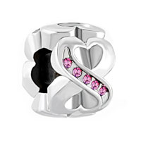 Birthstone Charms Rose Pink Elements Crystal Heart Infinity Symbol Love Spacer Bead