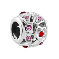 Birthstone Charms Filigree Open Heart Love Rose Pink Elements Crystal Bead