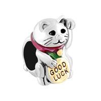 3 D Good Lucky Cat Maneki Neko Animal Beads Charms Bracelets Fit All Brands