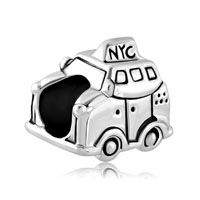 Silver Plated New York Car Taxi Travel Beads Charms For Bracelets