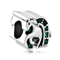 Emerald Green Crystal Luck Horse Charm Bracelet Shoe Equestrian Bead