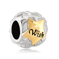 Silver Star Golden Whish European Bead Charm Lucky Charm Bracelets