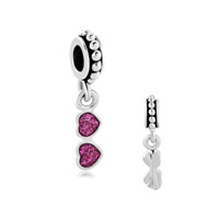 Silver P Pink Heart Love Sun Glasses Spacer Dangle Beads Charms Bracelets Fit All Brands