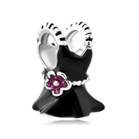 Silver Pink Rhinestone Crystal Flower Black Dress Beads Charms Bracelets Fit All Brands
