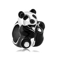 Silver Plated Black White Panda Love Animal Beads Charms Bracelets Fit All Brands