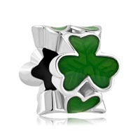 Silver Plated Green Three Leaf Clover Shamrock Beads Charms Bracelets Fit All Brands