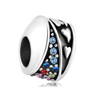 Multicolor Swarovski Elements Crystal Heart Mirage Beads Charms Bracelets Fit All Brands