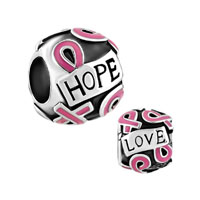 Silver Plated Breast Cancer Awareness Pink Ribbon Courage Hope Beads Charms Bracelets Fit All Brands