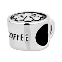 Silver Plated Coffee Cup Cafe Lover Beads Charms Bracelets Fit All Brands