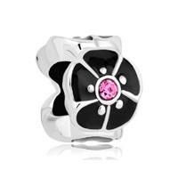 Silver P Black Open Petal Flower Fit All Brands Beads Charms Bracelets