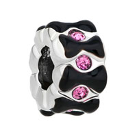Silver P Rose Pink Crystal Black Bowknot Spacer Beads Charms Bracelets Fit All Brands