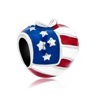 America Usa Flag Heart Love Charms For Bracelets