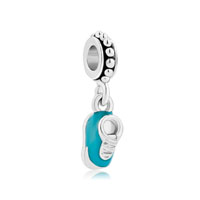 Aquamarine Blue Shoes Crystal Dangle For Beads Charms Bracelets Fit All Brands