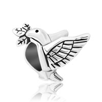 Silver Plated Peace Dove With Olive Branch For Beads Charms Bracelets Fit All Brands